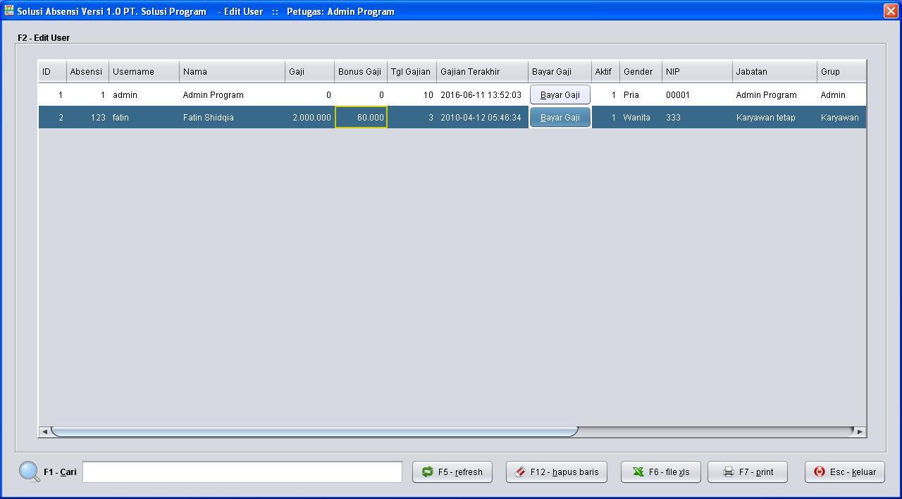 Free Software/Aplikasi/Program Absensi Karyawan