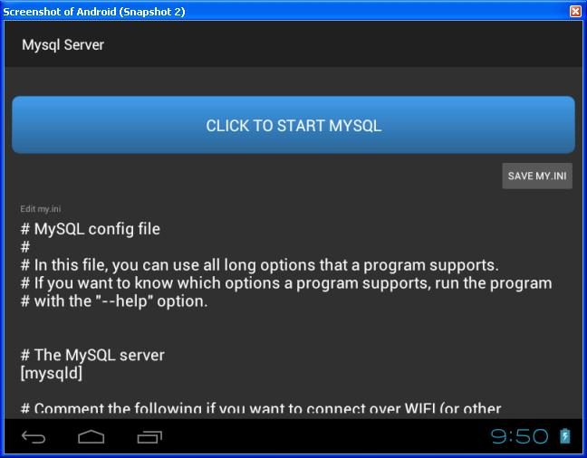 Free Mysql Server App for Android with no-root access